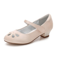 Girl's Round Toe Closed Toe Mary Jane Silk Like Satin Low Heel Flower Girl Shoes With Rhinestone Velcro Hollow-out