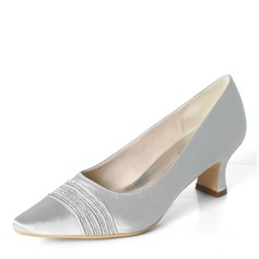 Women's Silk Like Satin Chunky Heel Pumps With Rhinestone Ruffles