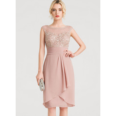 Sheath/Column Scoop Neck Knee-Length Chiffon Cocktail Dress With Cascading Ruffles (270253218)