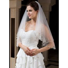 Two-tier Beaded Edge Elbow Bridal Veils With Beading/Sequin (006035735)