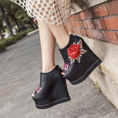 Women's PU Wedge Heel Platform Wedges Peep Toe Ankle Boots With Sequin Flower shoes (116132748)