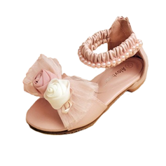 Girl's Leatherette Flat Heel Peep Toe Sandals With Bowknot Imitation Pearl