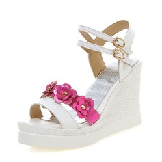 Women's PU Wedge Heel Pumps Wedges With Flower shoes
