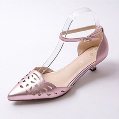 Women's Patent Leather Low Heel Closed Toe Pumps With Buckle Hollow-out