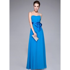 A-Line/Princess Sweetheart Floor-Length Chiffon Evening Dress With Ruffle Bow(s)