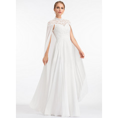 A-Linie High Neck Bodenlang Chiffon Brautkleid