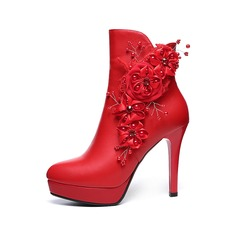 Women's Leatherette Stiletto Heel Platform Ankle Boots With Zipper Flower shoes (088100807)