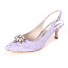 Women's Lace Satin Low Heel Sandals With Rhinestone