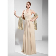 A-Line/Princess Halter Floor-Length Chiffon Holiday Dress With Ruffle Lace Beading (020036591)