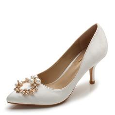bfe27c27e726 Kvinder silke lignende satin Stiletto Hæl Pumps Lukket Tå med Rhinsten  Imiteret Pearl sko