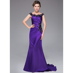 Trumpet/Mermaid Off-the-Shoulder Sweep Train Charmeuse Evening Dress With Beading Appliques Lace