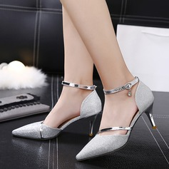 Women's Sparkling Glitter Stiletto Heel Sandals Pumps With Split Joint shoes