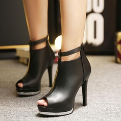 Women's Leatherette Stiletto Heel Boots Peep Toe Ankle Boots With Zipper shoes