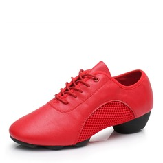 Women's Real Leather Mesh Latin Modern Jazz Sneakers Practice Dance Shoes