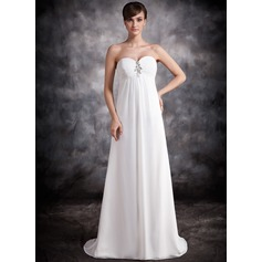 Empire Sweetheart Sweep Train Chiffon Evening Dress With Ruffle Beading