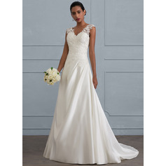 Ball-Gown V-neck Sweep Train Satin Wedding Dress With Ruffle Beading Sequins (002121436)