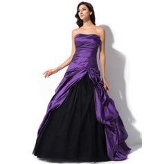 Ball-Gown Sweetheart Sweep Train Taffeta Tulle Quinceanera Dress With Ruffle Beading Sequins