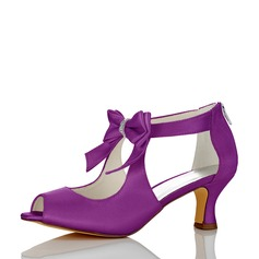 Women's Satin Silk Like Satin Chunky Heel Peep Toe With Satin Flower Zipper