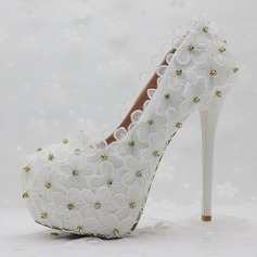 Women's Leatherette Stiletto Heel Closed Toe Pumps With Rhinestone Stitching Lace