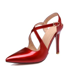 Women's Leatherette Stiletto Heel Closed Toe Pumps Sandals With Buckle Hollow-out