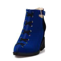 Women's Suede Wedge Heel Ankle Boots shoes