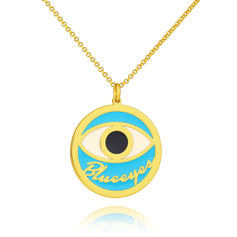 Custom 18k Gold Plated 3D Engraved Necklace Circle Necklace With Eye - Birthday Gifts Mother's Day Gifts