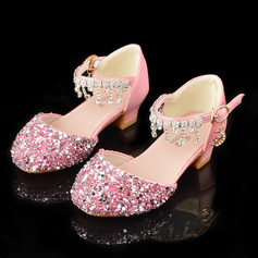 Girl's Round Toe Closed Toe Leatherette Low Heel Flats With Buckle Sparkling Glitter Tassel