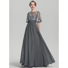 A-Line/Princess Scoop Neck Floor-Length Chiffon Sequined Mother of the Bride Dress With Ruffle