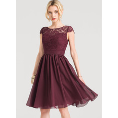A-Line Scoop Neck Knee-Length Chiffon Cocktail Dress (270253221)