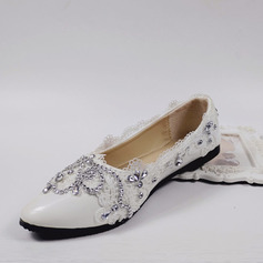 Women's Leatherette Flat Heel Closed Toe Flats With Rhinestone Stitching Lace