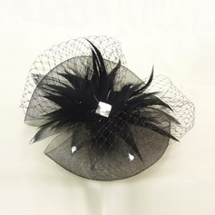 Net Yarn/Feather Fascinators With Rhinestone