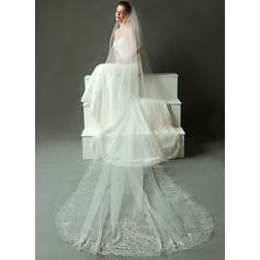 One-tier Cathedral Bridal Veils With Lace