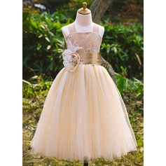 A-Line/Princess Ankle-length Flower Girl Dress - Satin/Tulle/Lace Sleeveless Square Neckline With Beading/Flower(s)
