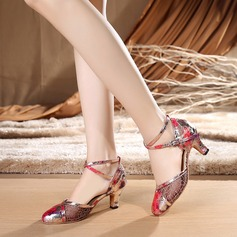 Women's Lace Heels Ballroom With Ankle Strap Dance Shoes
