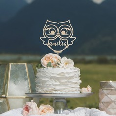 Personalized Owl Wood Cake Topper