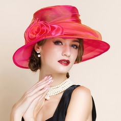 Ladies' Glamourous Organza With Flower Floppy Hat