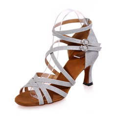 Women's Leatherette Heels Sandals Latin With Ankle Strap Dance Shoes