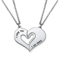 Personalized Couples' Eternal Love 925 Sterling Silver With Heart Name/Engraved/Bar Necklaces For Couple