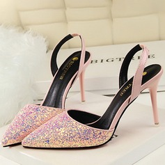 Women's Sparkling Glitter Stiletto Heel Sandals Pumps Closed Toe With Sequin shoes (087118801)