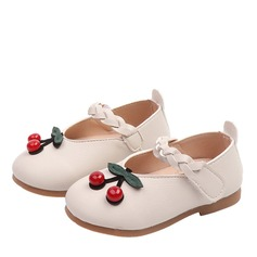 Jentas Round Toe Lukket Tå Leather flat Heel Flate sko Flower Girl Shoes med Velcro