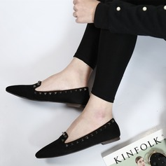 Women's Suede Low Heel Flats Closed Toe With Rivet shoes