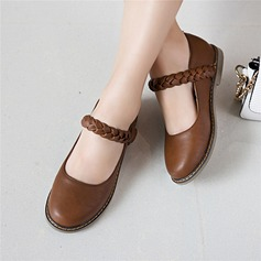 Women's Leatherette Flat Heel Flats Closed Toe Mary Jane With Braided Strap shoes (086120708)