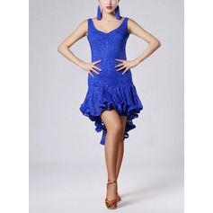 Women's Dancewear Lace Velvet Latin Dance Dresses (115091537)