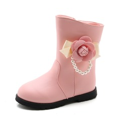 Girl's Closed Toe Mid-Calf Boots Leatherette Flat Heel Flats Boots With Imitation Pearl Flower Zipper