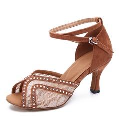 De mujer Encaje Ante Tacones Danza latina Zapatos de danza