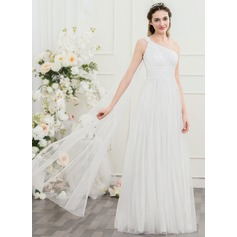 A-Line/Princess One-Shoulder Floor-Length Tulle Wedding Dress With Ruffle Lace