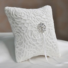 Elegant Ring Pillow in Satin/Cotton With Rhinestones/Flowers