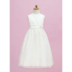 A-Line/Princess Floor-length Flower Girl Dress - Organza/Satin Sleeveless Scoop Neck With Flower(s)/Bow(s)