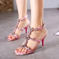Women's Leatherette Cone Heel Sandals Peep Toe With Buckle Chain shoes (087116055)