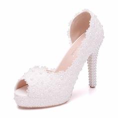 Women's Leatherette Spool Heel Peep Toe Pumps With Crystal Heel Applique